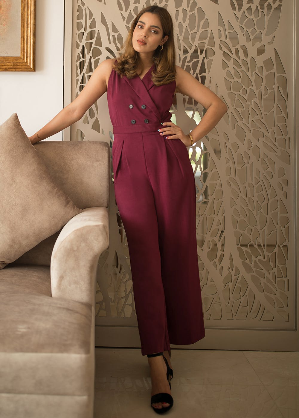 Double Breasted Maroon Halter Jumpsuit