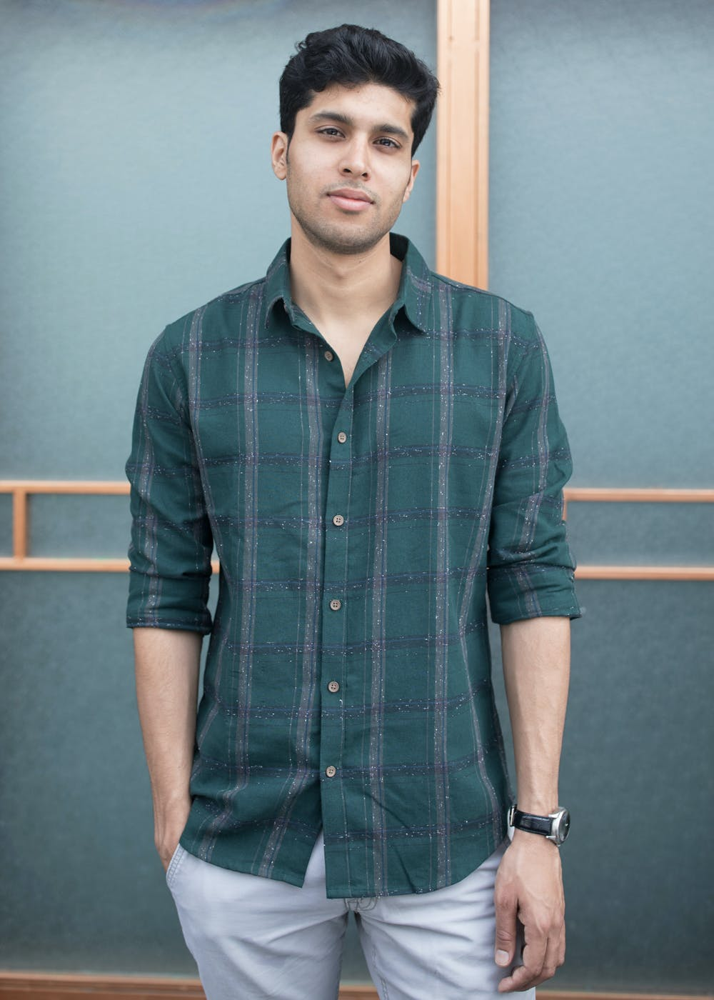 Green Broad Checkered Shirt