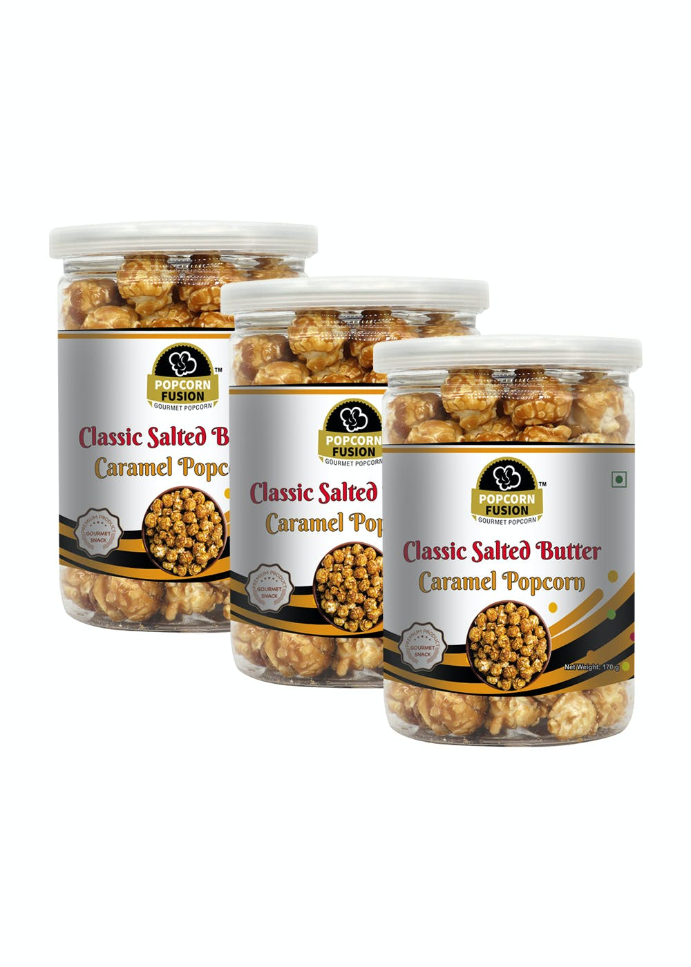 Pack of 3 Gourmet Popcorn-Classic Salted Butter Caramel Popcorn-170g