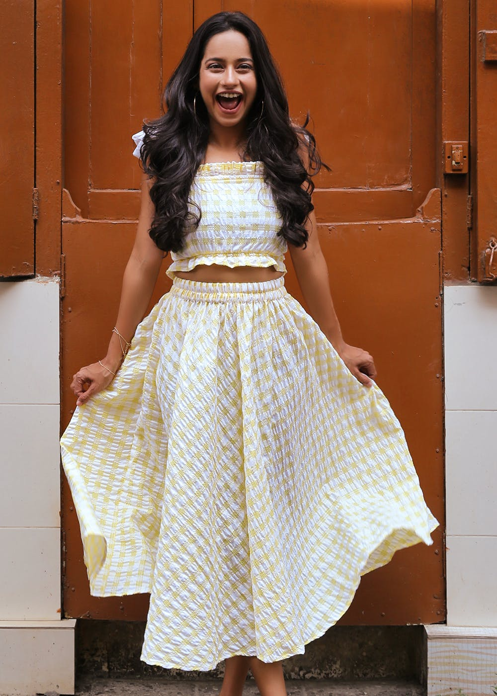Yellow Checkered Crop Top & Skirt Co-Ord Set