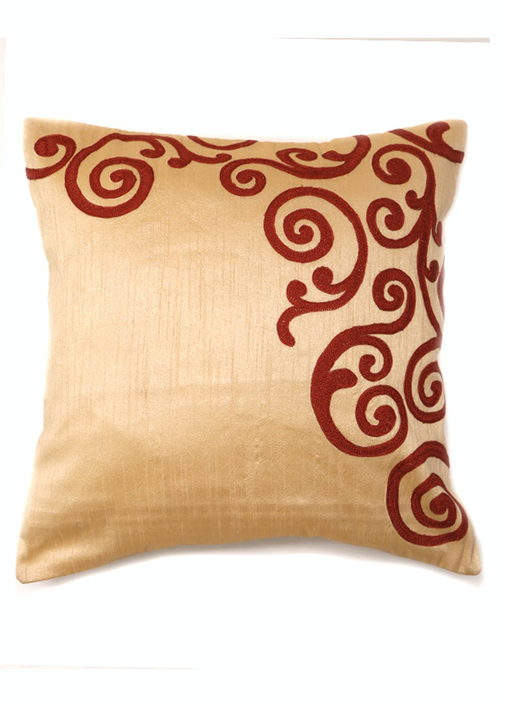 Poly Dupion Multi Embroidered Cushion Cover (16X16 inches)