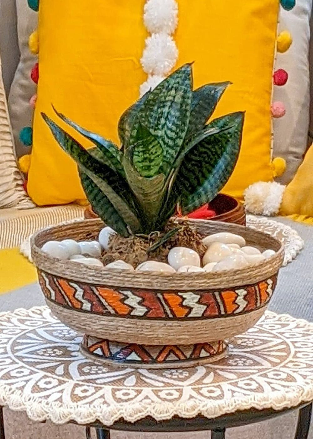 Hand-Painted Round Jute Tabletop Planter