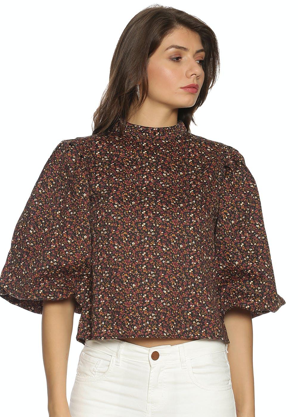 Floral Puff Sleeve Top - Brown