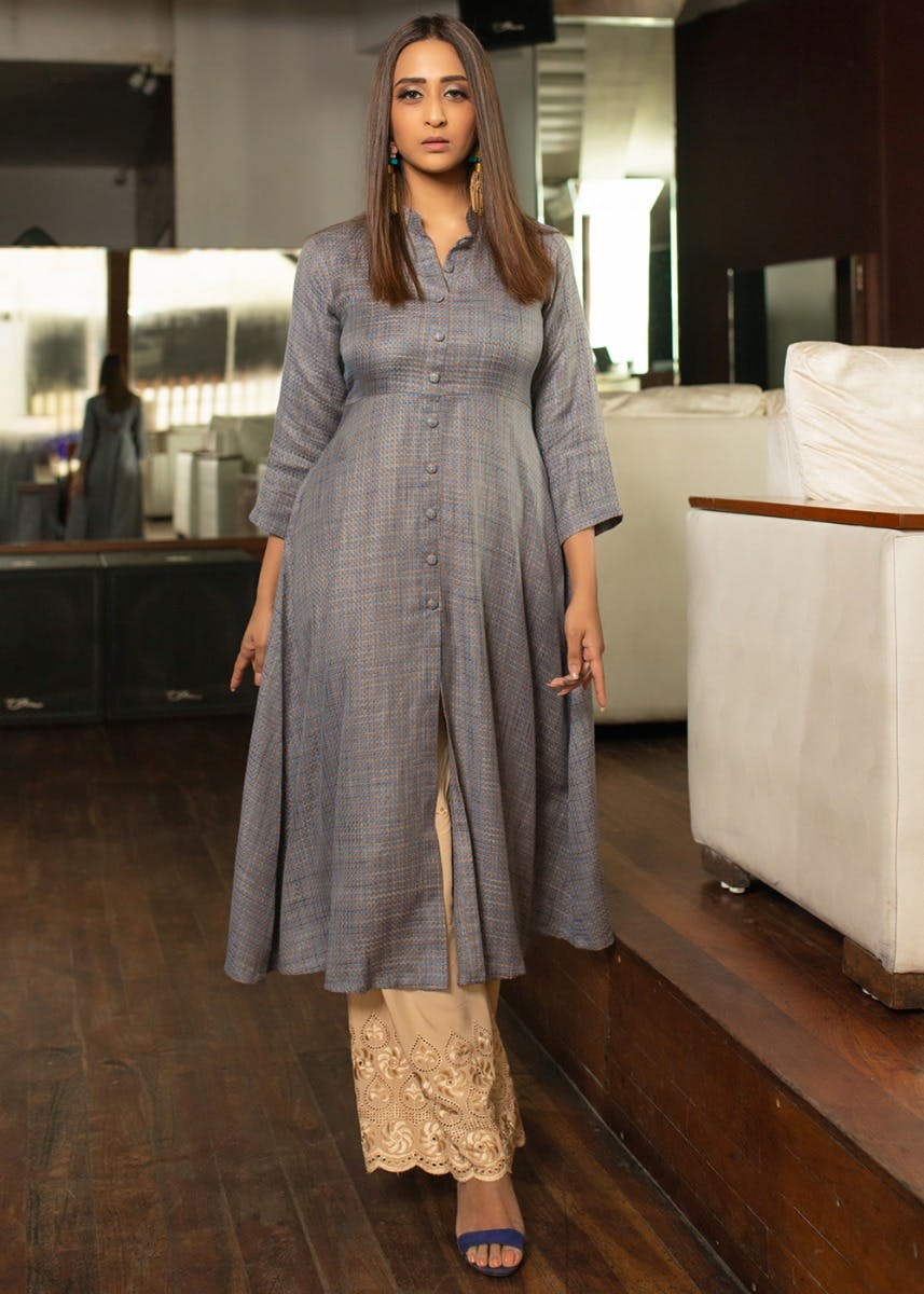 A-Line Button Down Kurta With Contrast Palazzos