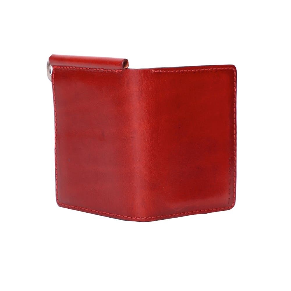 Genuine Leather Money Clip Wallet - Red