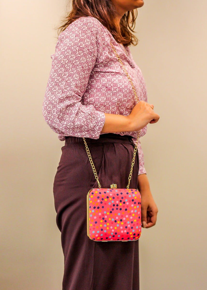 Multicolour Dot Print Pink Clutch