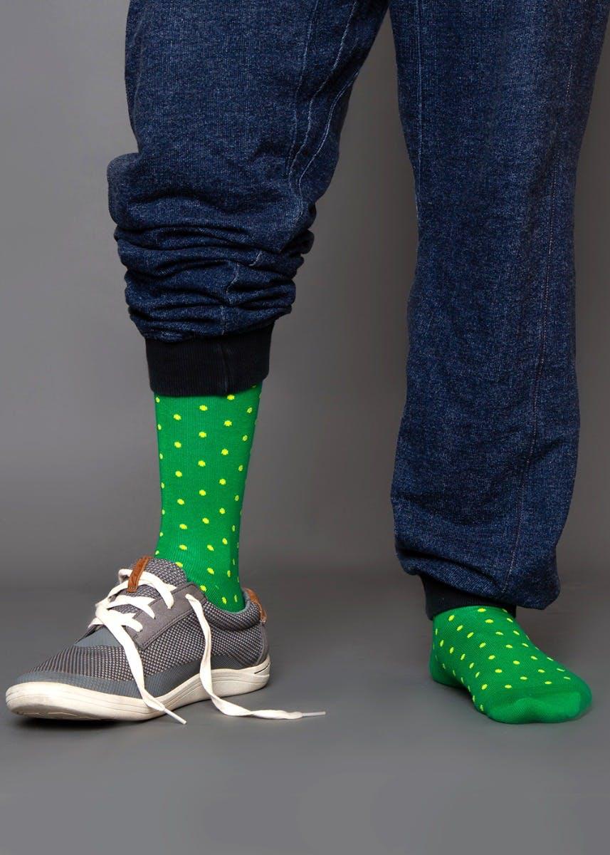Yellow Dots Crew Socks - Green