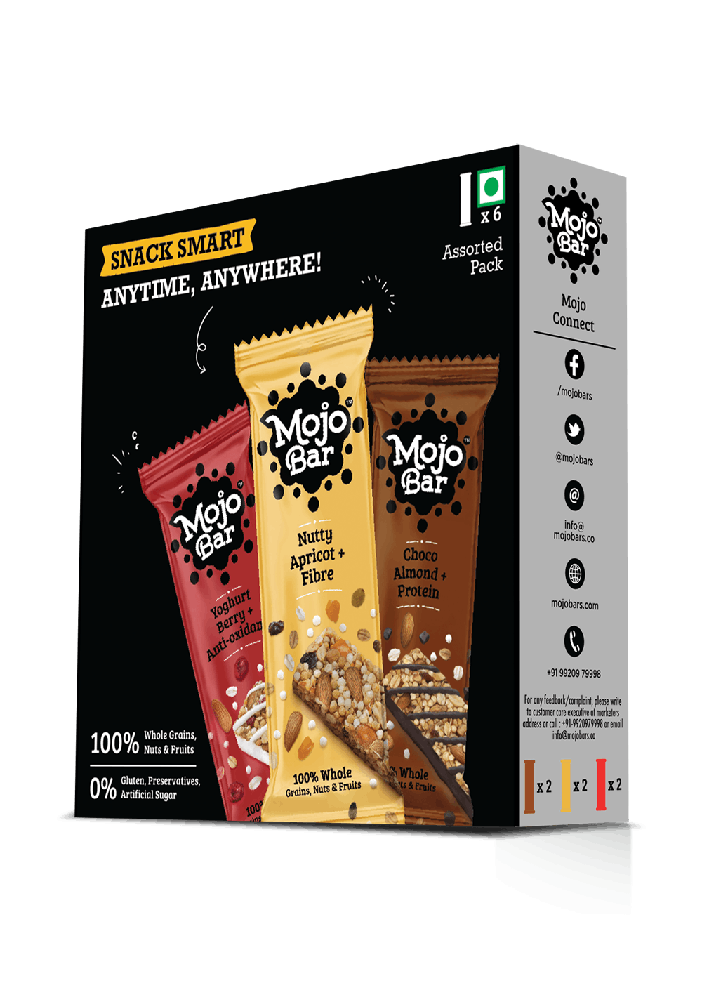 Choco Almond, Yoghurt Berry & Nutty Almond Variety Combo - Pack of 6