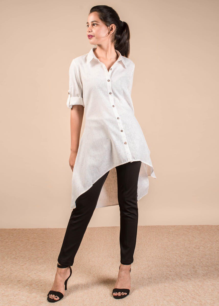 Roll Up Sleeves High-Low Long Shirt