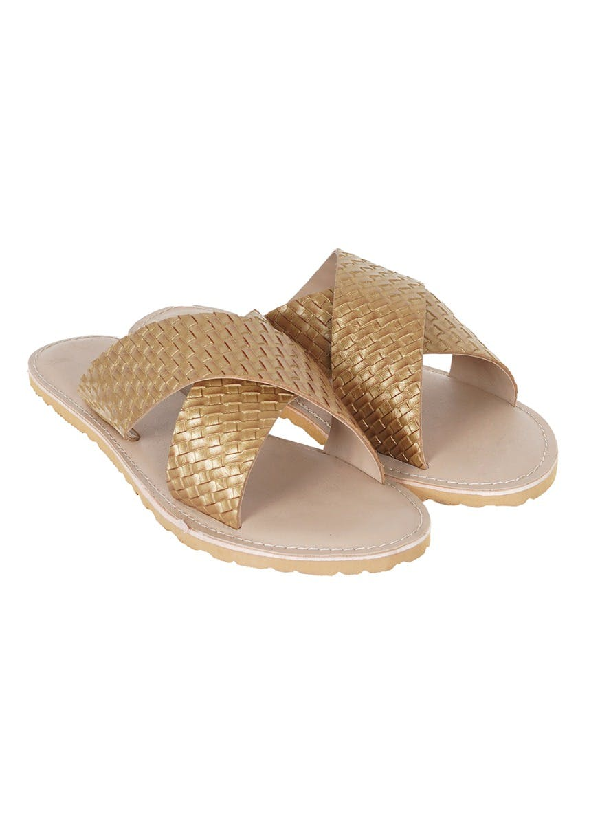 Handcrafted Leather Basket Weave Criss Cross Slides