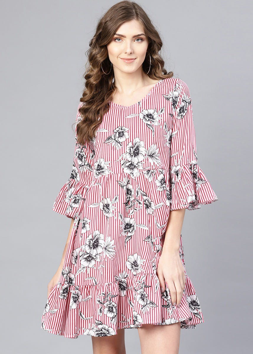 Striped Floral Print Bell Sleeves Dress
