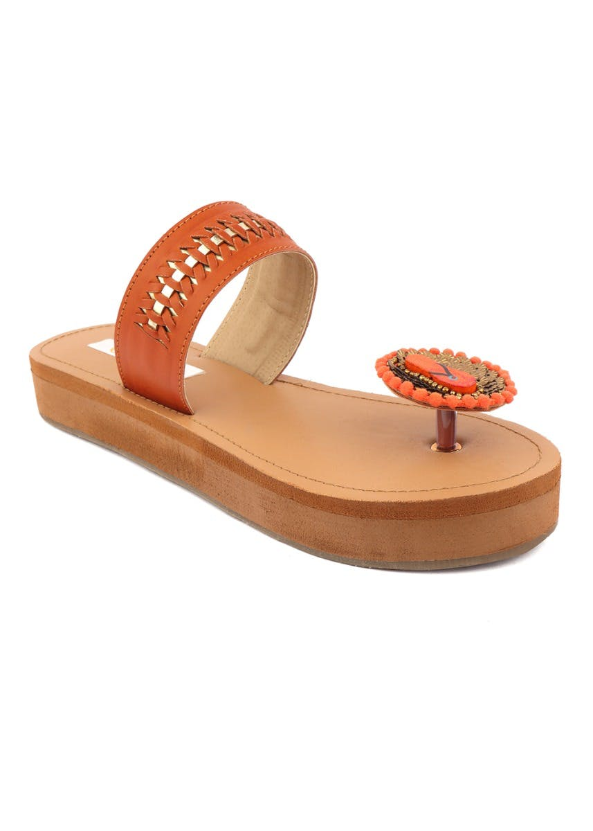 One Toe Embellished Kohlapuri Platforms - Tan