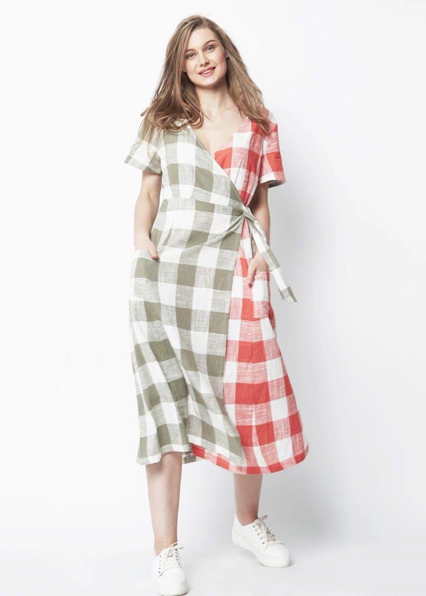 Two-Tone Checkered A-Line Wrap Dress