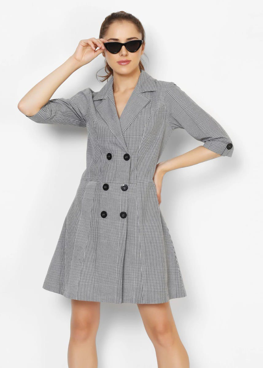 Gingham Grey Trench A-Line Dress