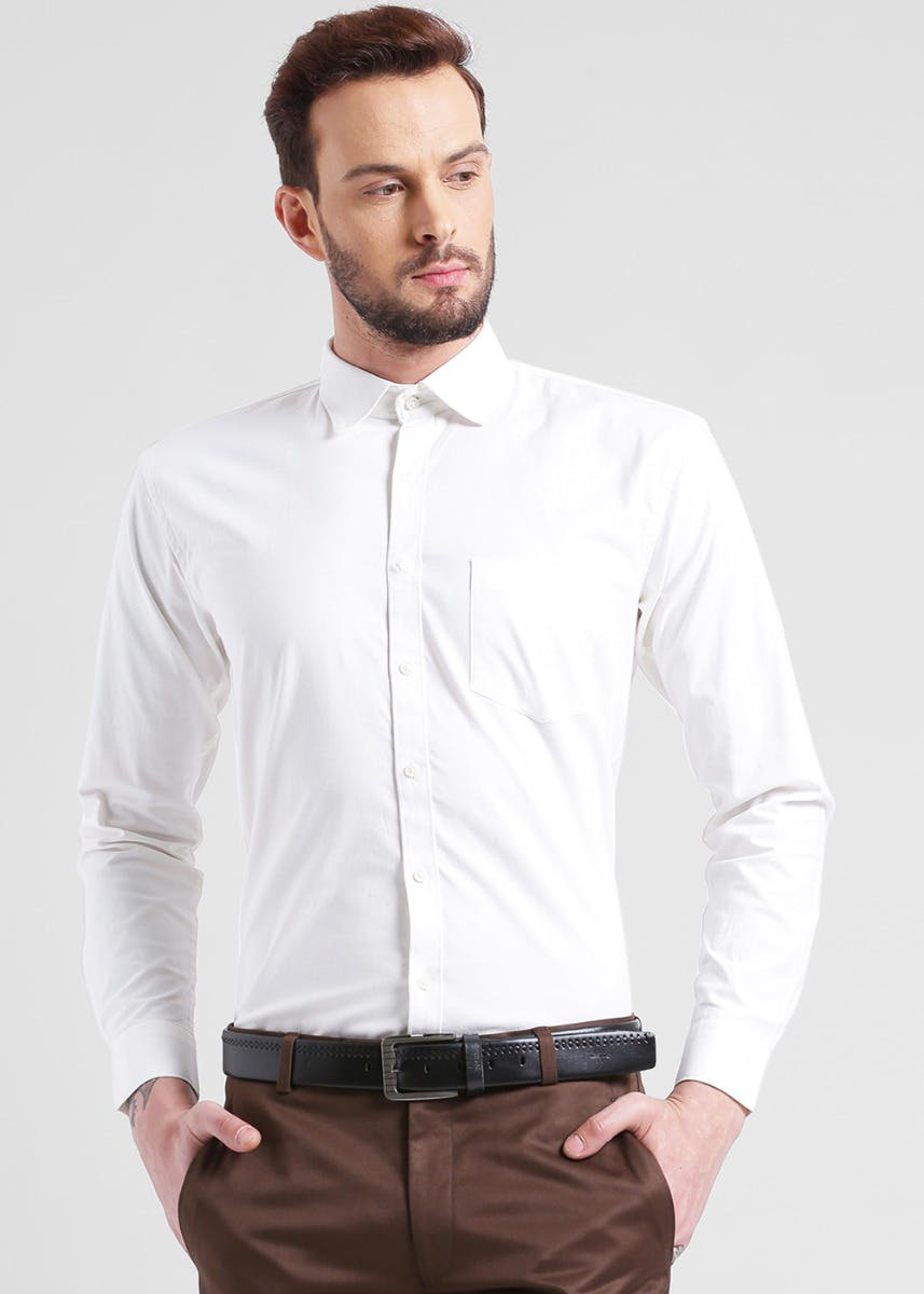Solid White Cotton Shirt