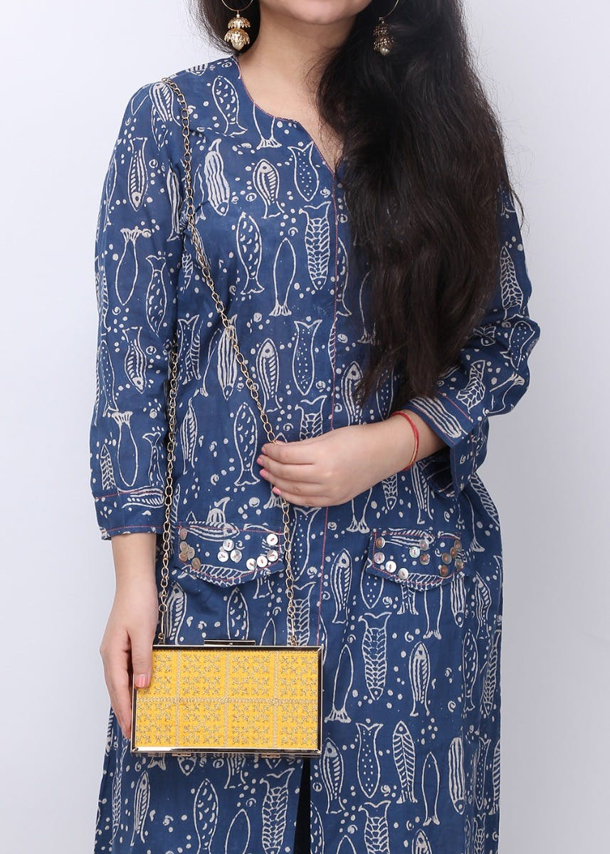 Delicate Floral Embroidered Frame Box Clutch - Yellow