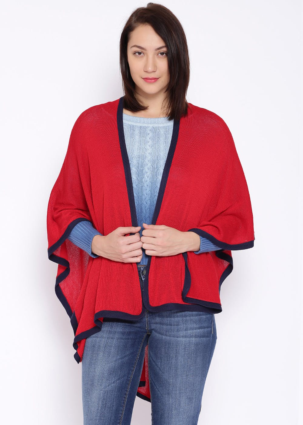 Contrast Trim Detail Solid Poncho