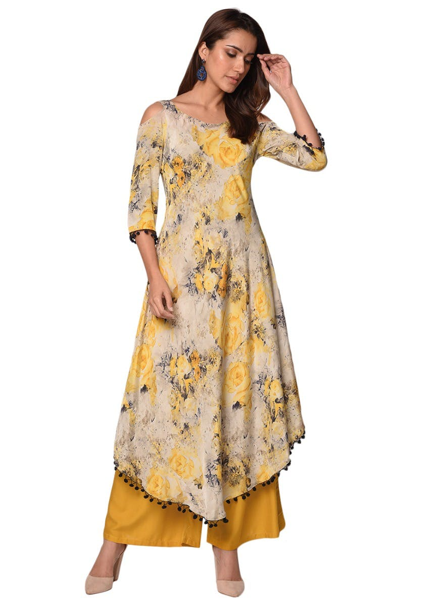 Cold SHoulder Detail Printed A-Line High Low Kurta - Yellow