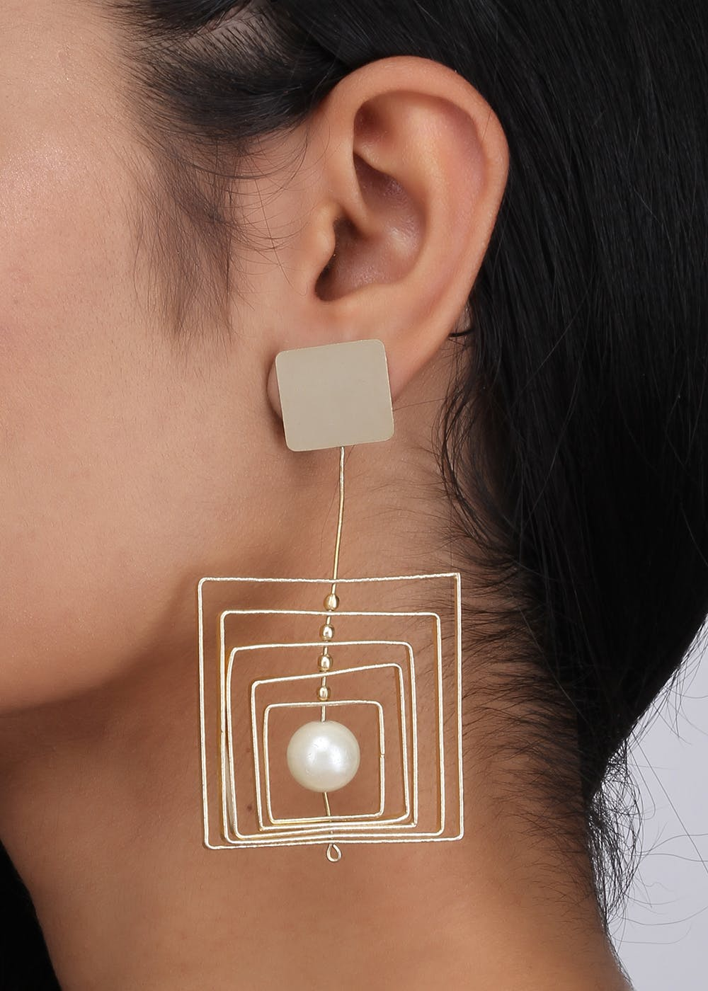 Gold Square in Square Drop Earrings