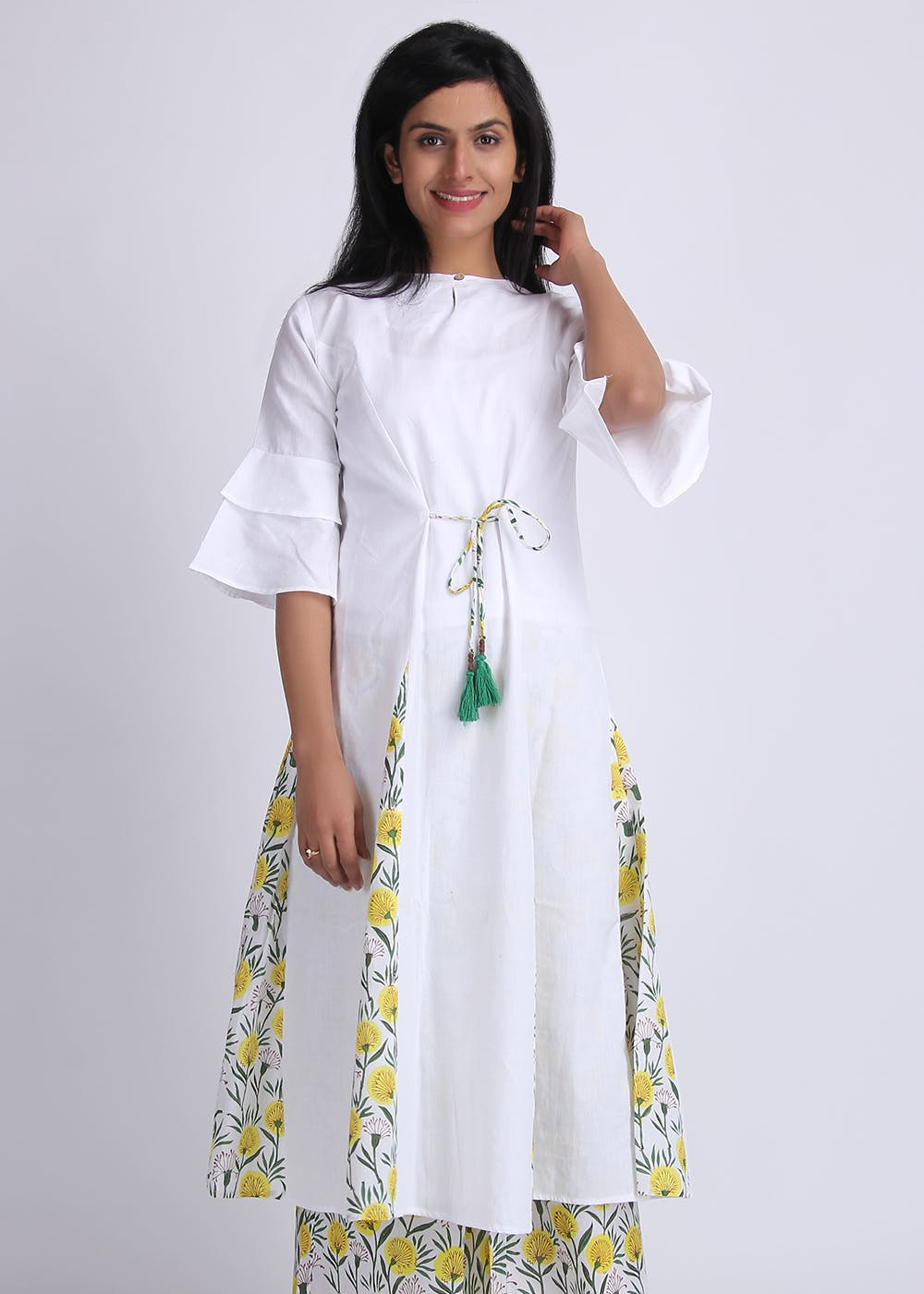 Double Bell Sleeves Printed Pleated Kurta