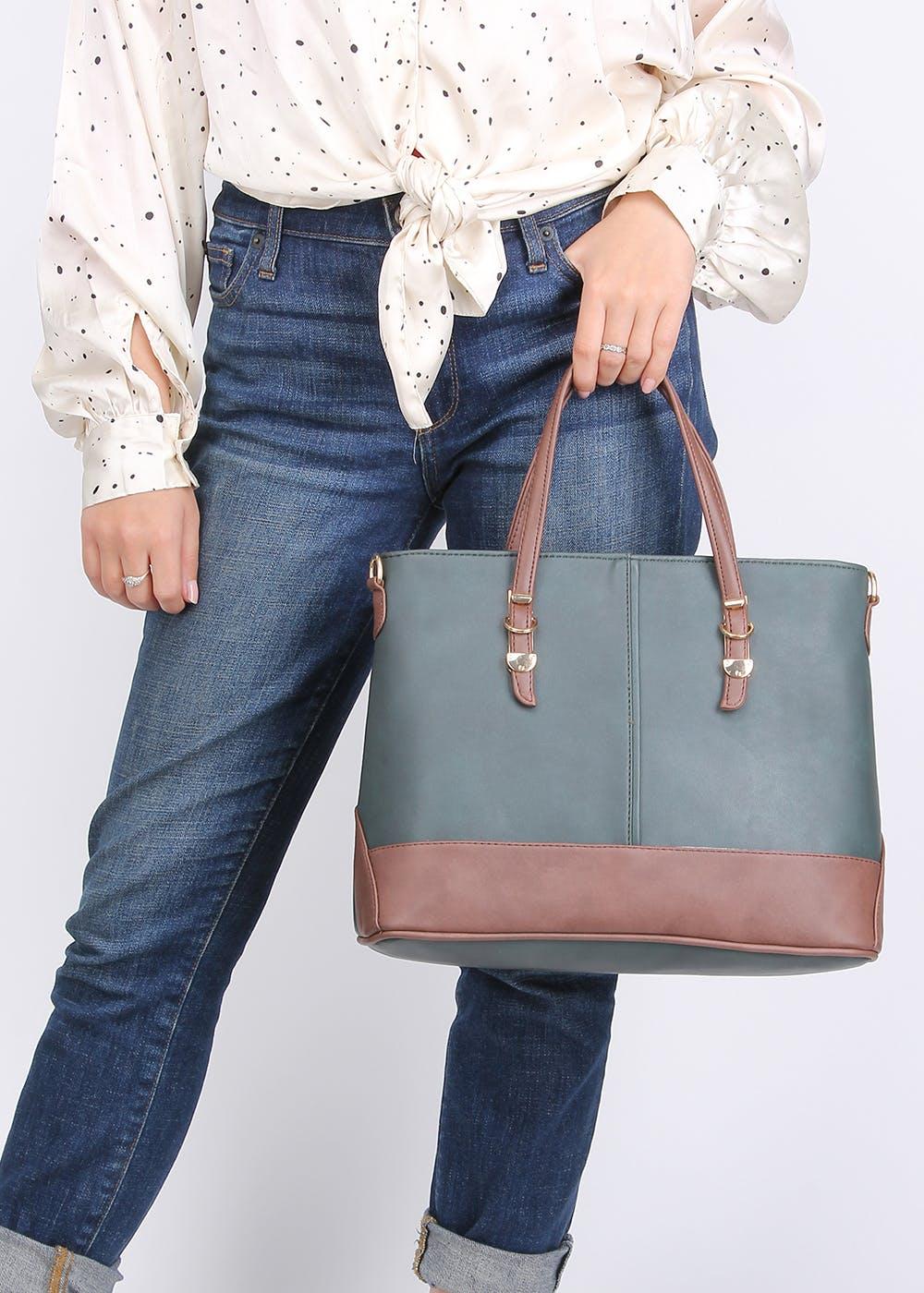 Contrast Handles Detail Formal Handbag - Green