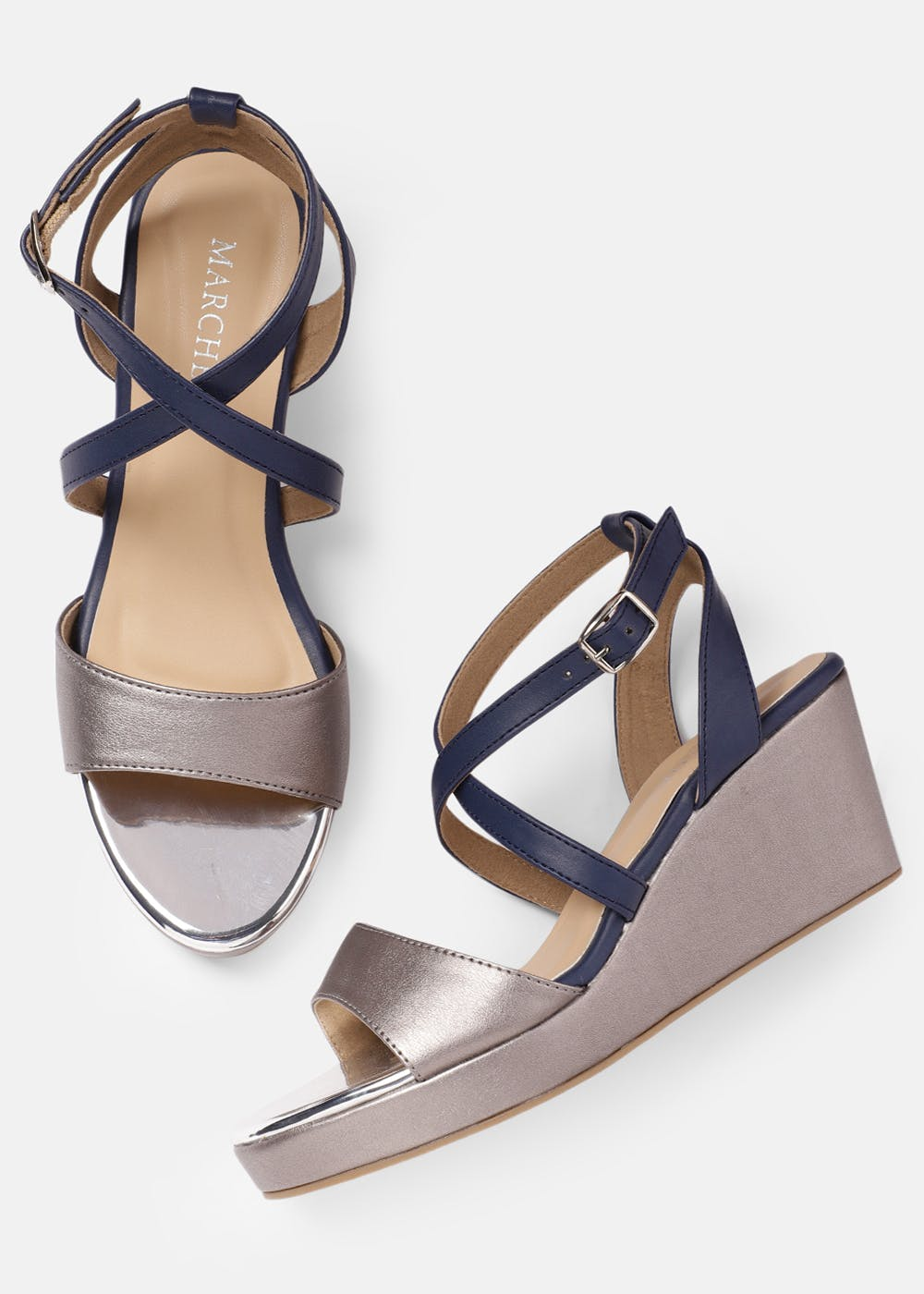 Cross Strappy Solid Platform Wedges - Navy