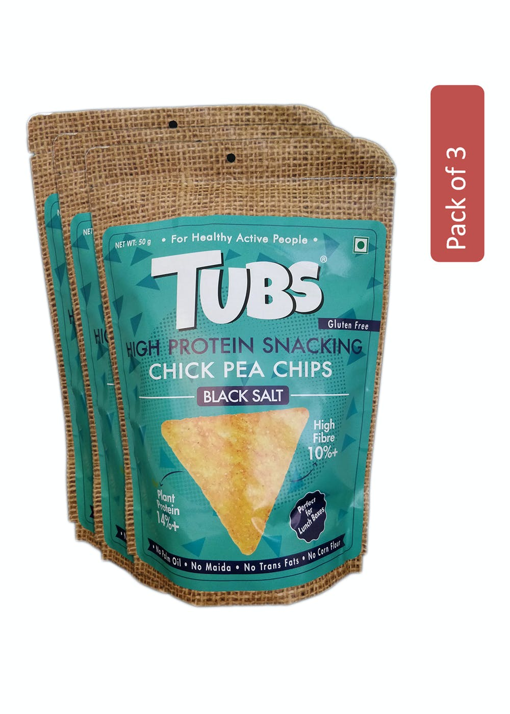 Chick Pea Black Salt 50 gm - Pack of 3 - High Plant Protein - High Fibre Chips