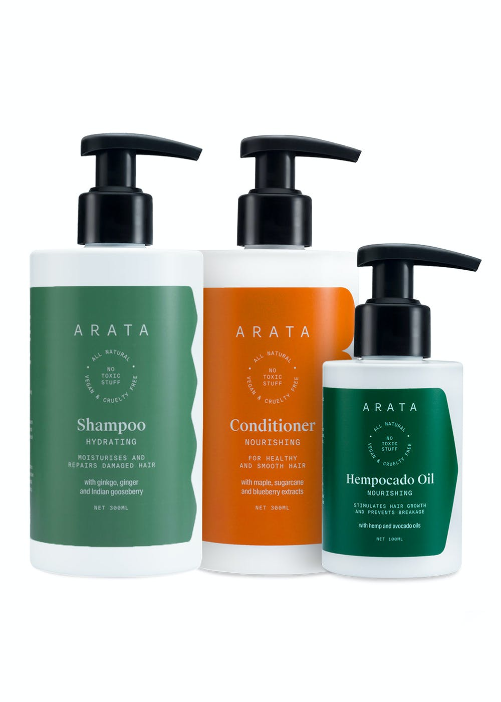 Natural Daily Therapy Combo - Hydrating Shampoo, Hempocado Oil & Hair Conditioner