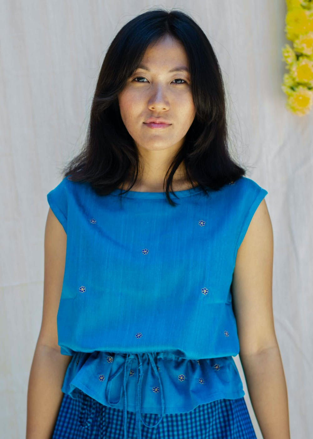Blue Round Neck Embroidered Sleeveless Top - Blue