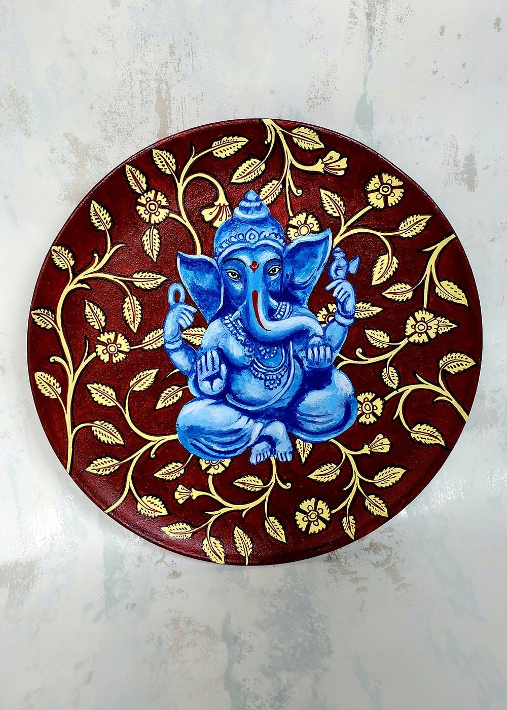 Ganesh Kalamkari Wall Plate