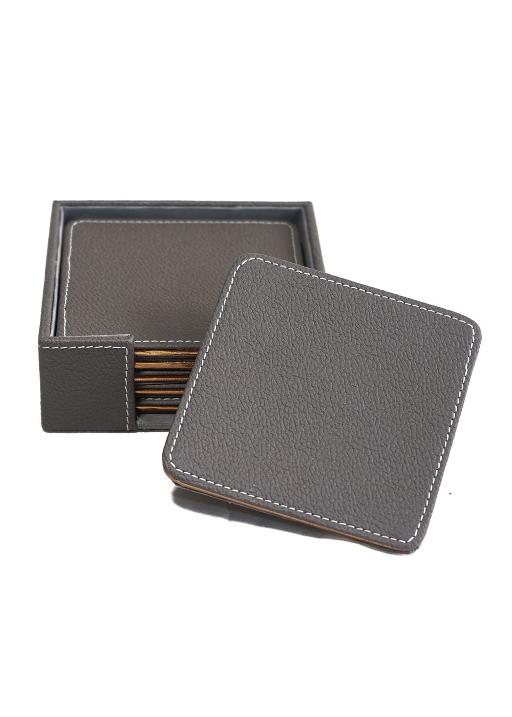 Faux Leather Square Coasters - Set of 6