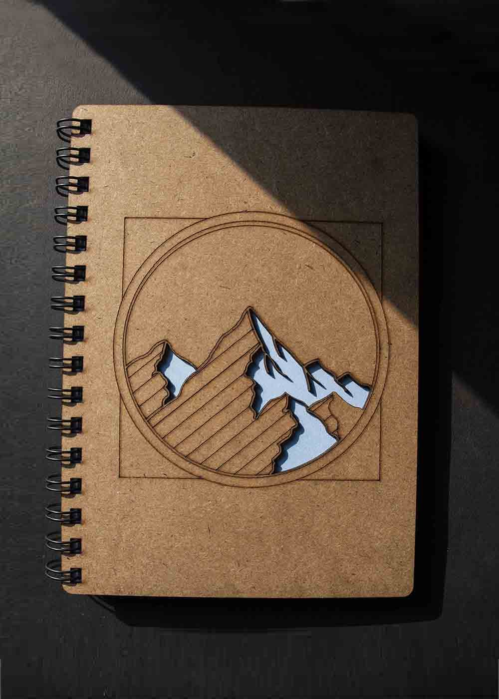 Mountain Cut Out Detail MDF Notebook A5