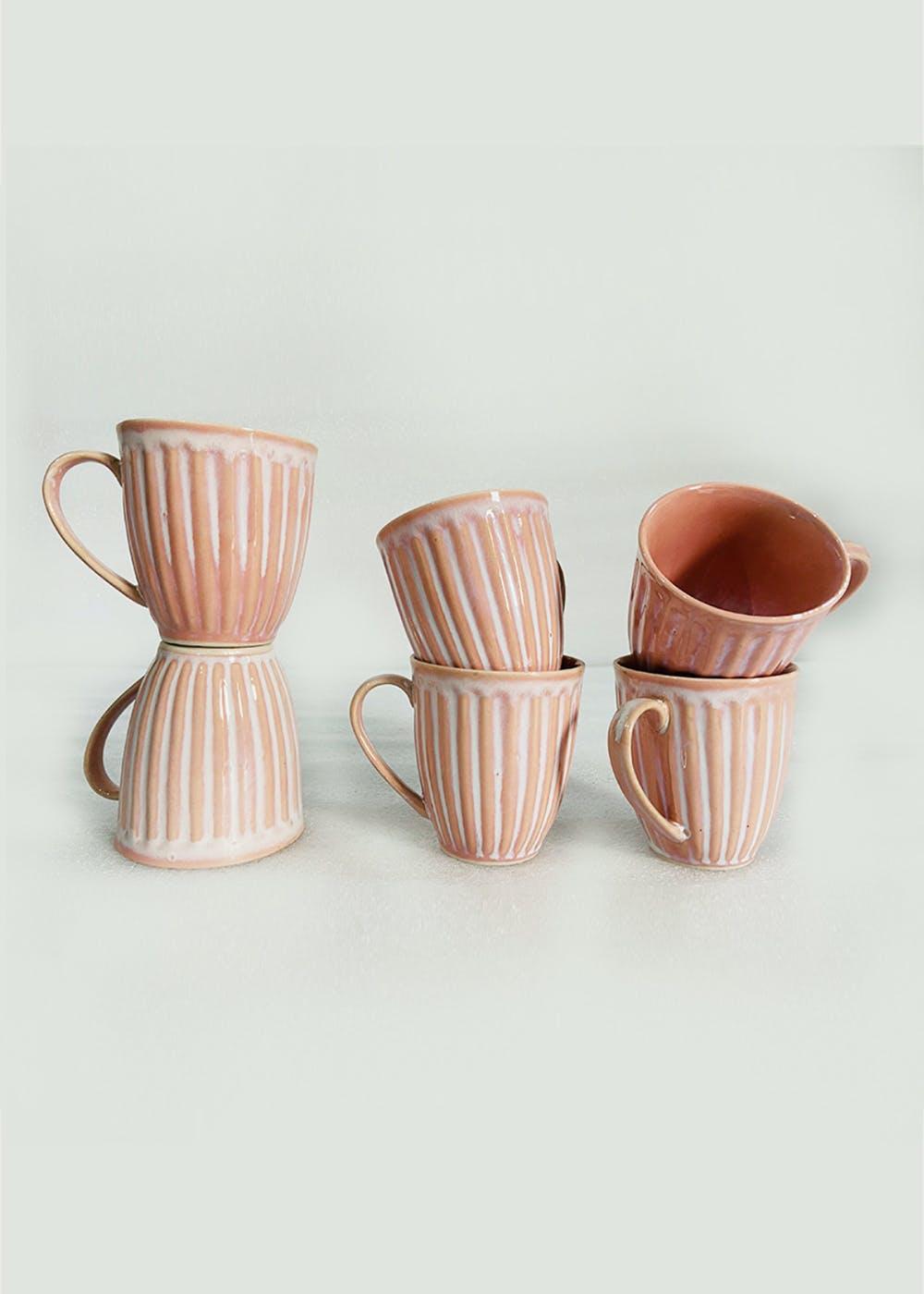 Studio Pottery Solid Coffee Mug - Set of 6 - Pink