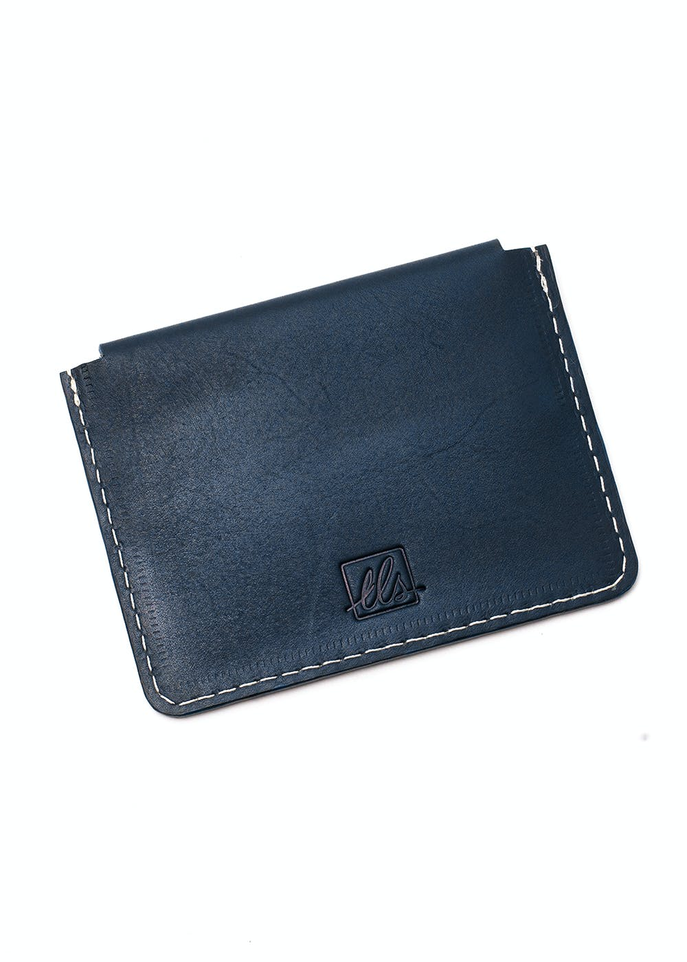 Suave Business Card Case With Flap - Navy