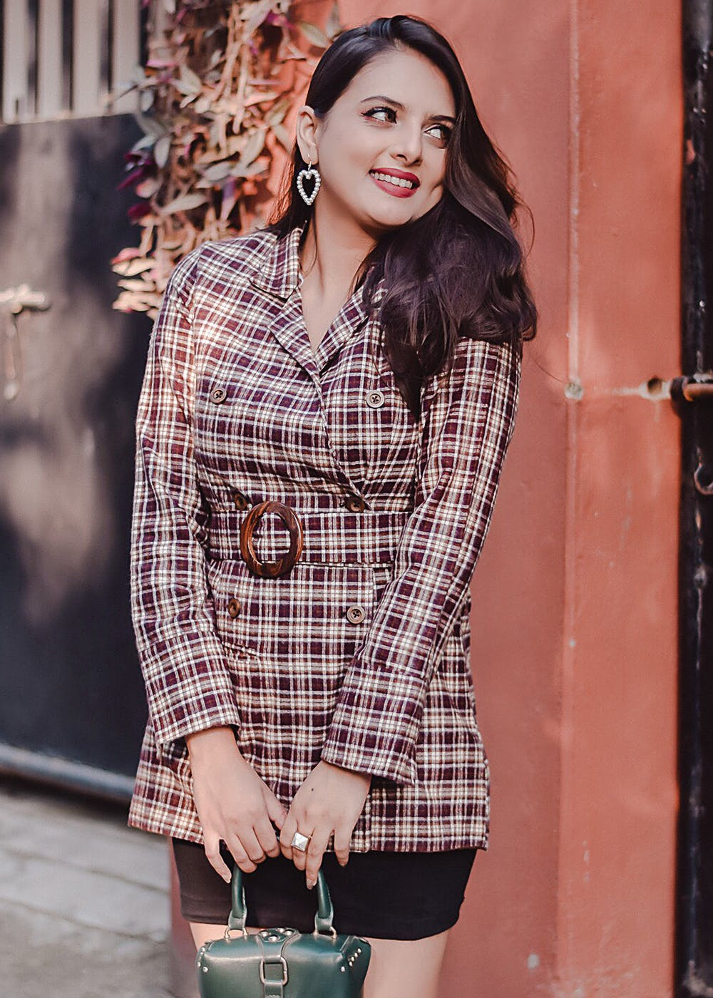 Brown Checkered Short Trench Coat