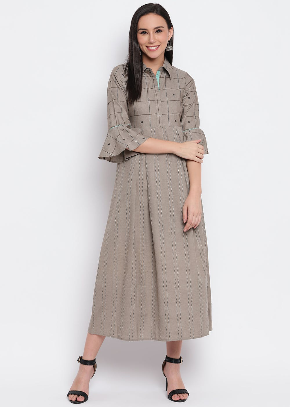 Bell Sleeves Detail Collared Dress - Brown
