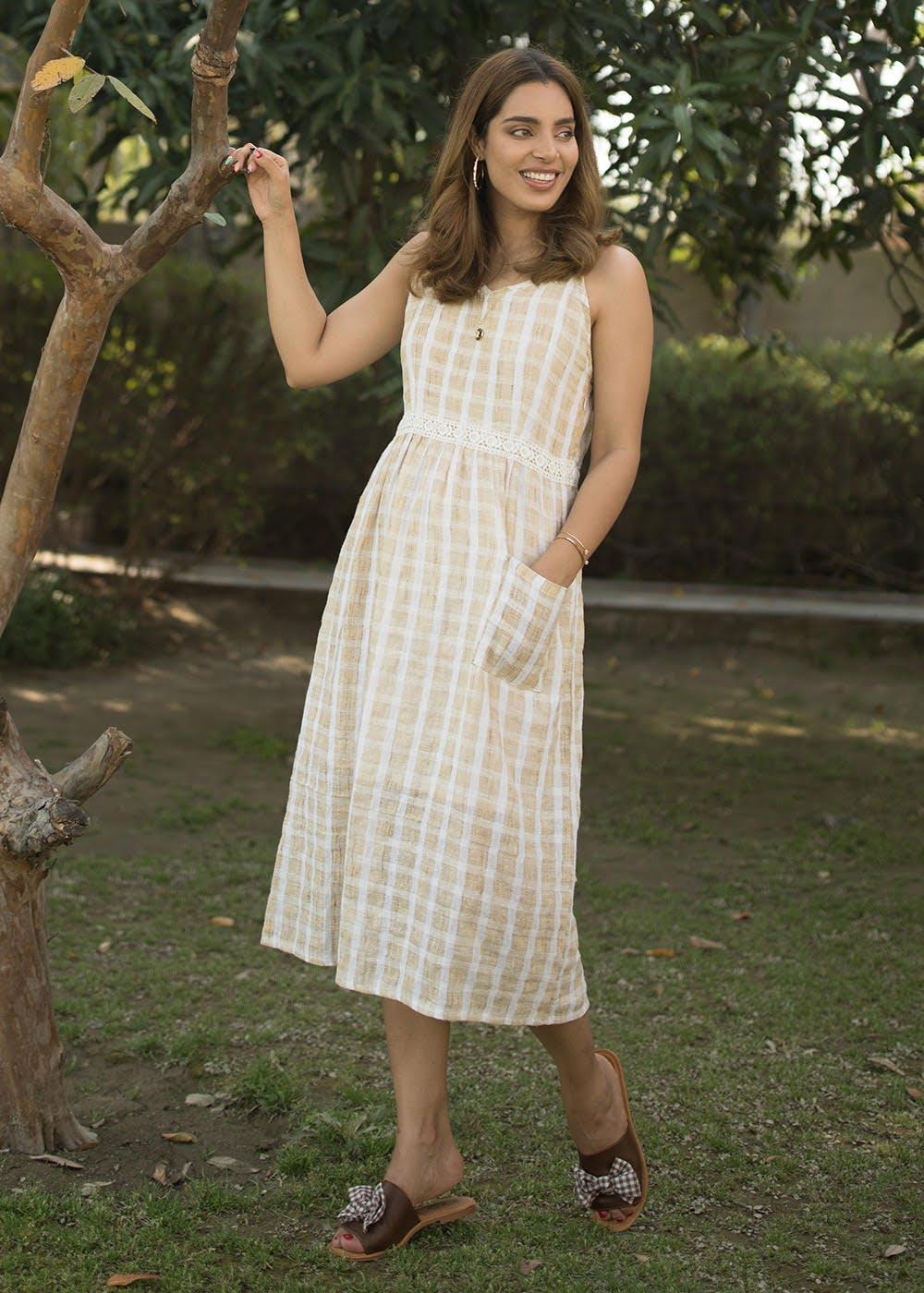 Lace Detail Checkered Jute A-Line Dress