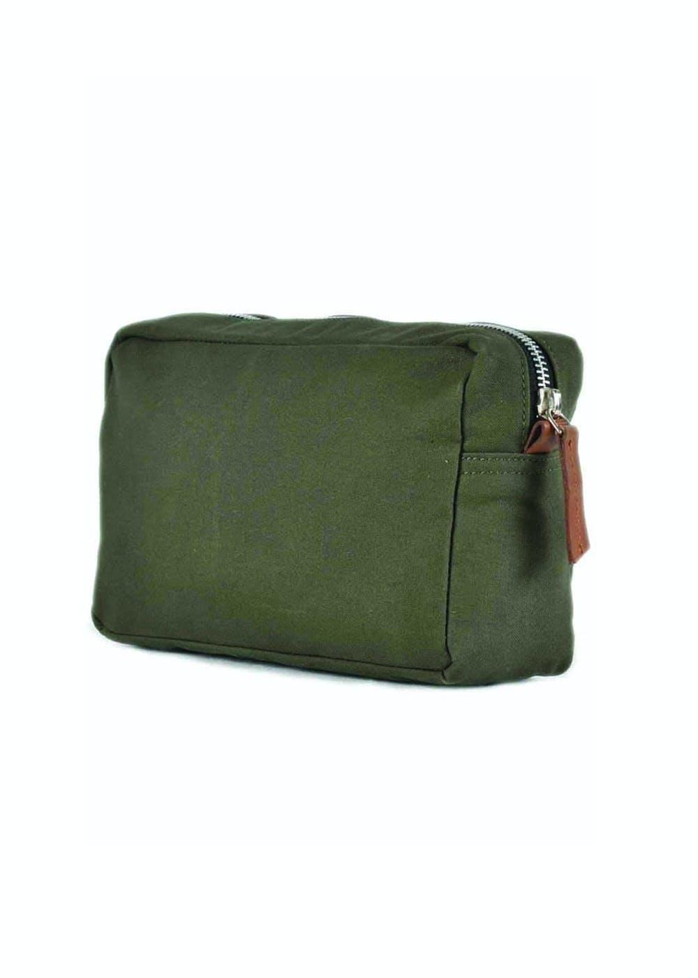 Canvas Zipper Olive Green Toiletry Bag