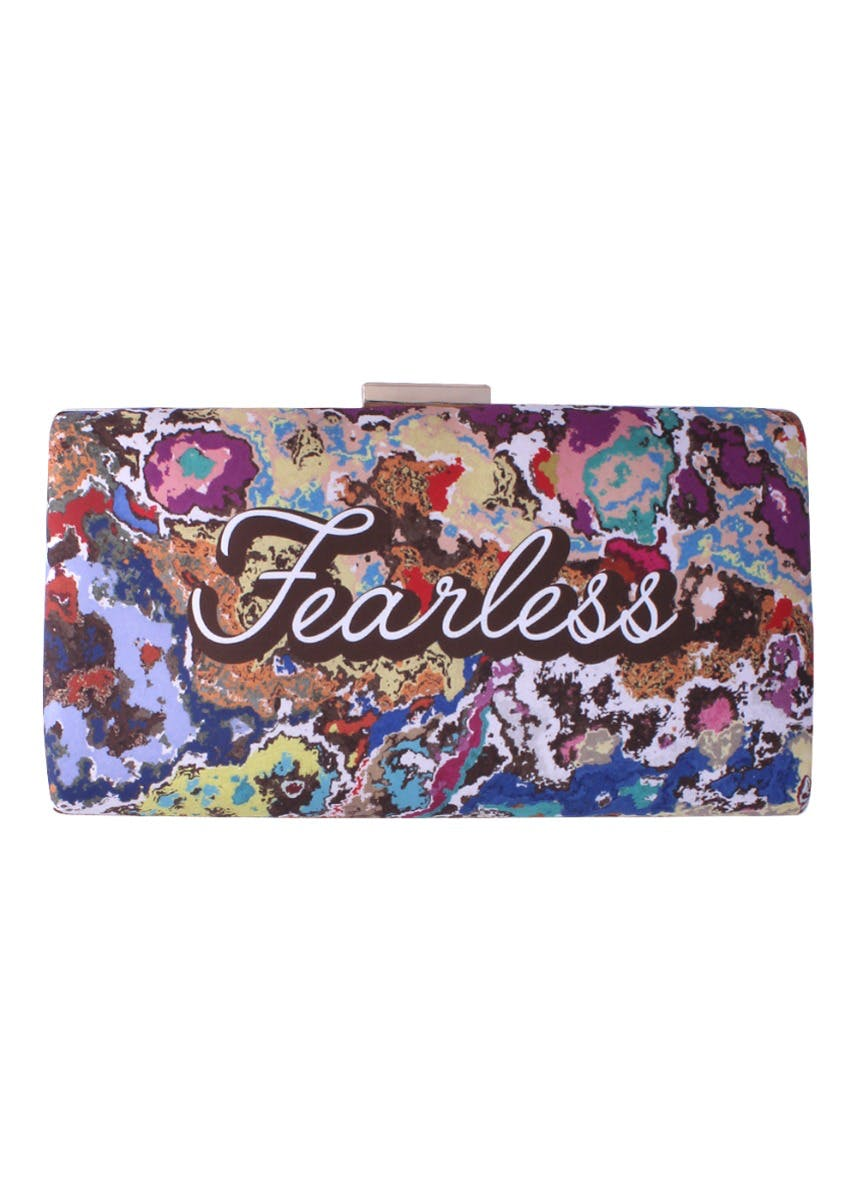 Customisable Text Multicoloured Abstract Print Clutch