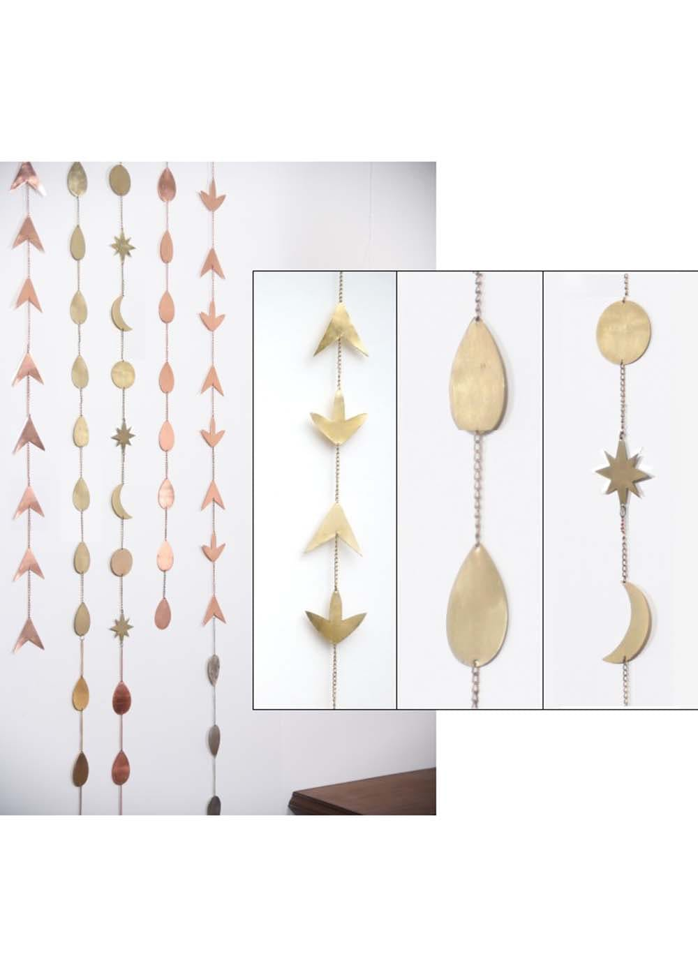 Set of 3 Metal Wall Mobile Bead Curtain Strings Handmade in Gold Finish