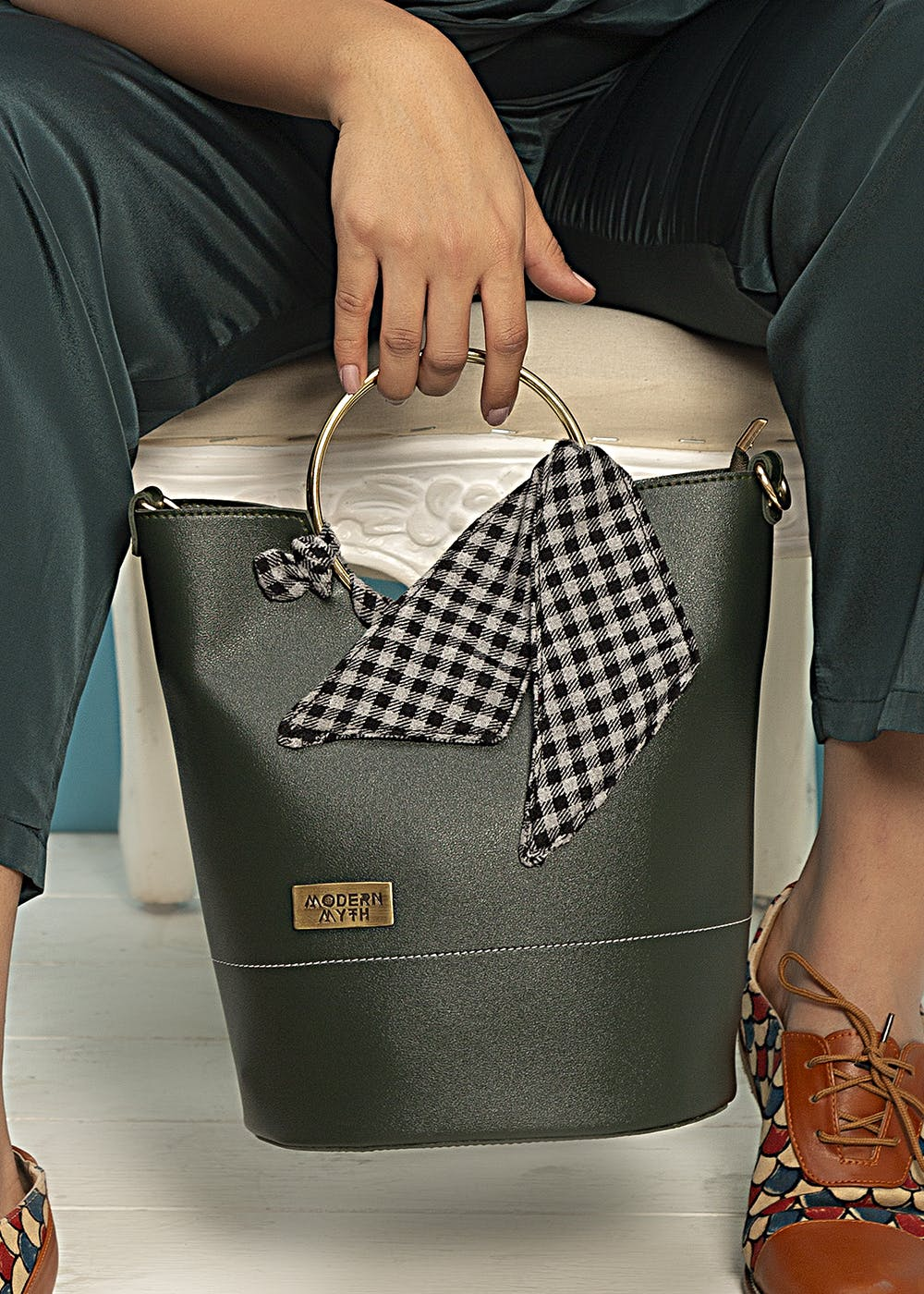 Checkered Scarf Detail Olive Bucket Bag