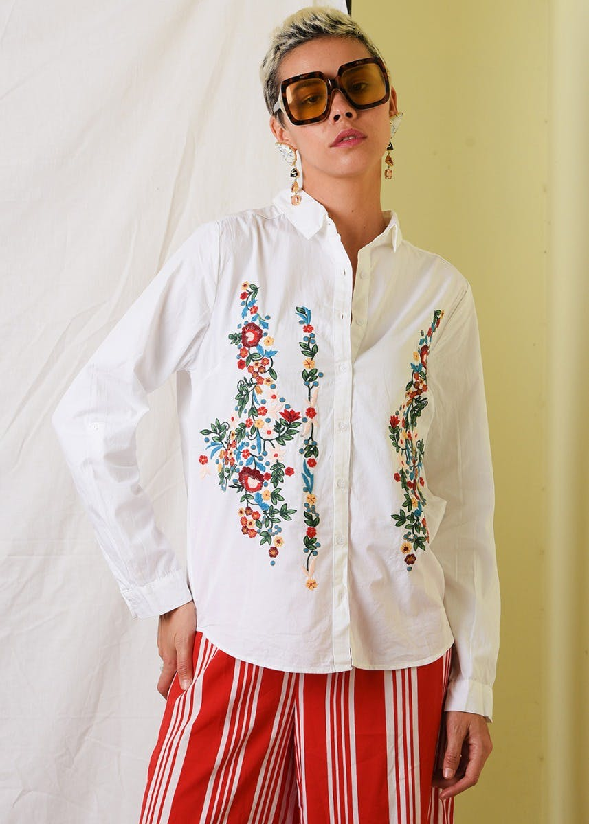 Floral Embroidered High-Low White Shirt