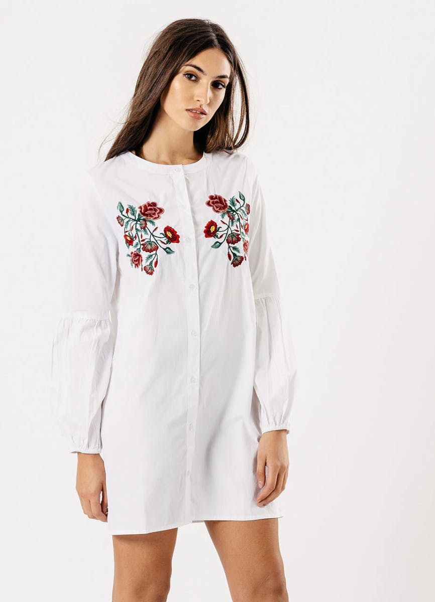 Floral Embroidered Shirt Dress