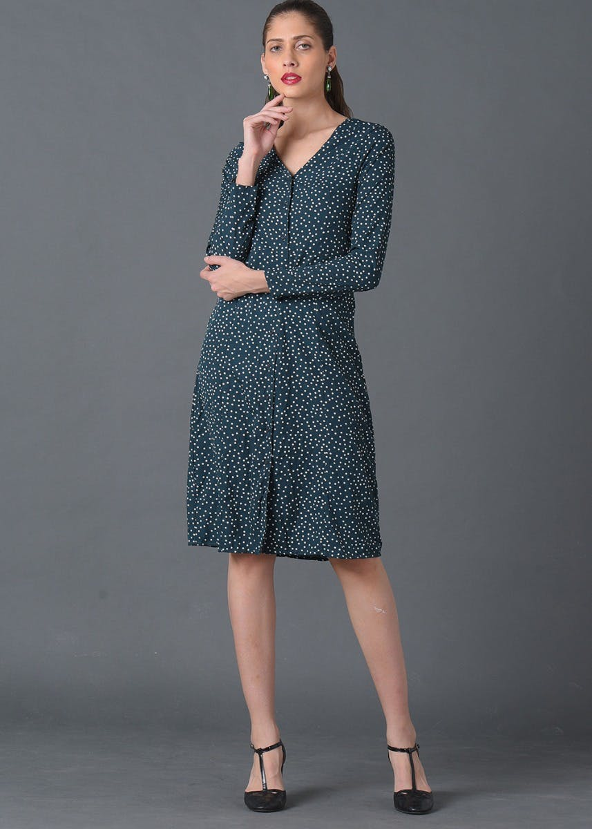 Polka Dot Green Shift Dress
