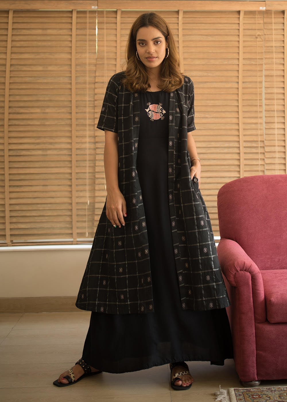 Fish Embroidered Maxi With Black Checkered Cape