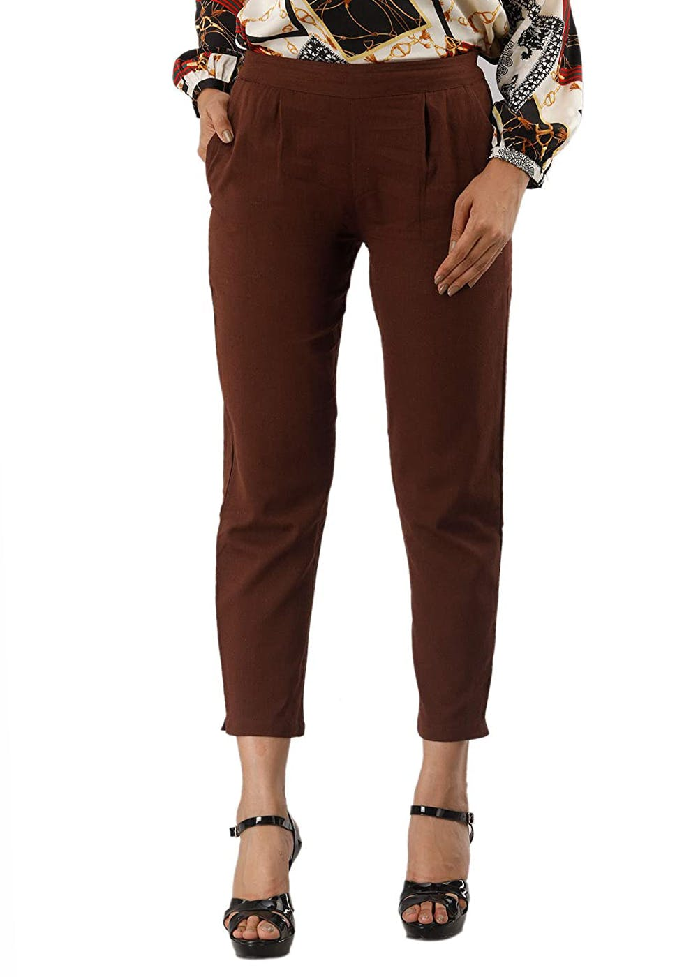 Brown Ankle Slit Details Straight Rayon Pants