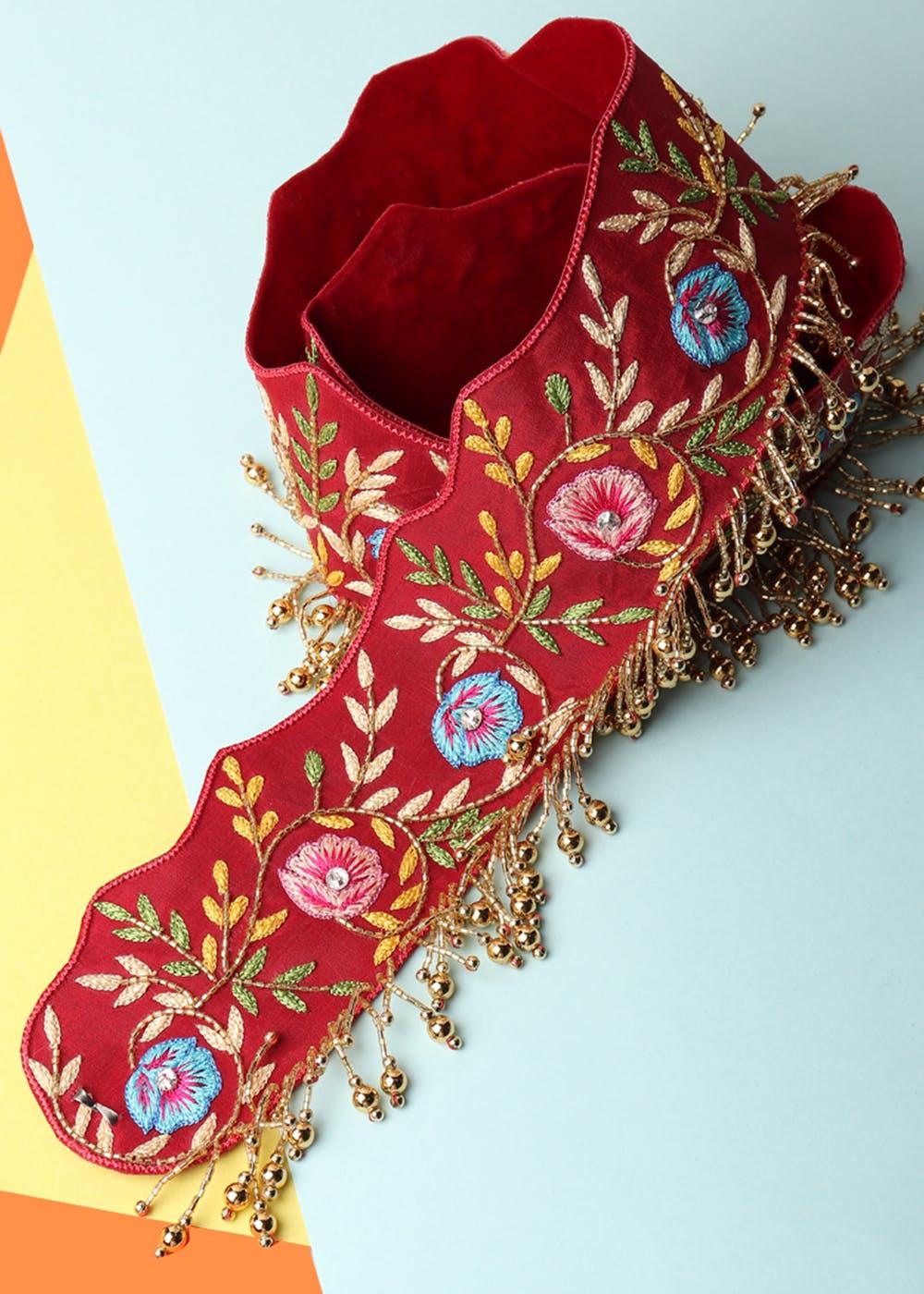 Floral Embroidered Red Waist Belt