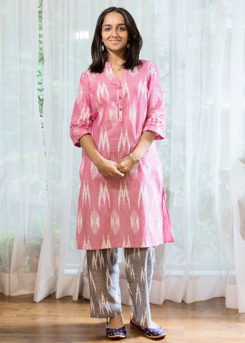 Pink Ikat Print Mandarin Collar Tunic with Grey Ikat Pants Set