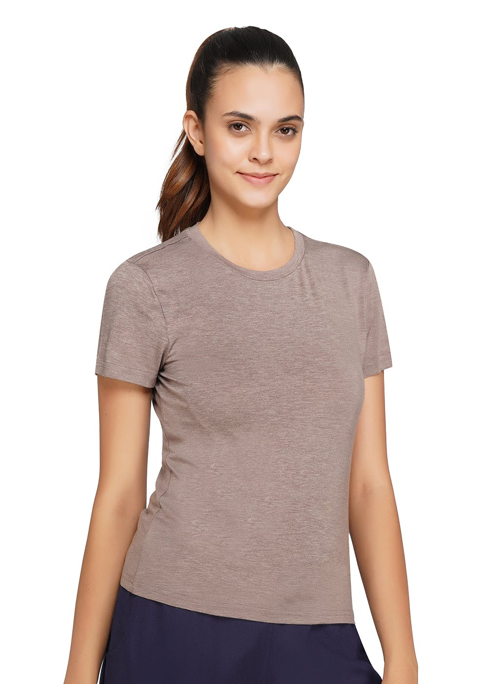 Basic Solid Round Neck Active T-Shirt - Brown