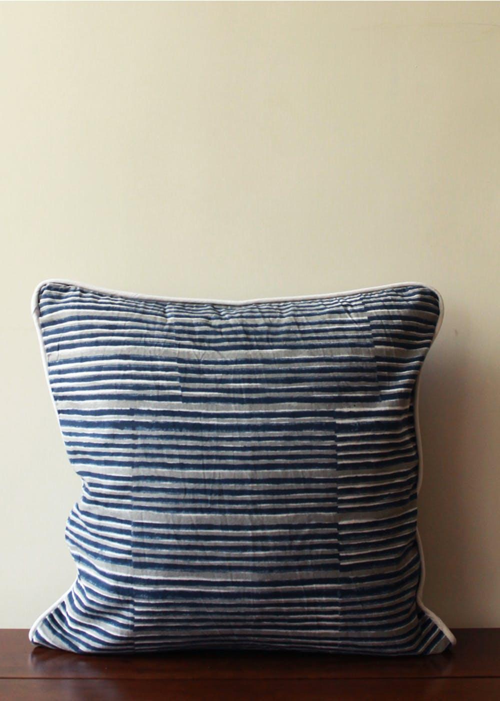 Indigo Grey Stripes Cushion Cover